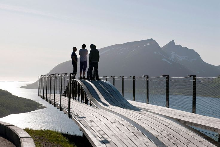 See: On a rocky bluff overlooking a canyon, lush forests, and snowcapped mountains, this cantilevered wood-and-steel bridge offers an ideal photo op—especially when the viewing platform sways in the wind.Stay: Hamn i Senja is a waterfront retreat offering dogsledding, snowshoeing, and sublime seafood (47-778-59880