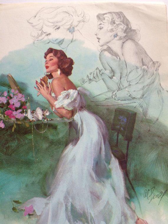 Vintage Calendar Girl Art : Vintage al buell pin up calendar s beauties