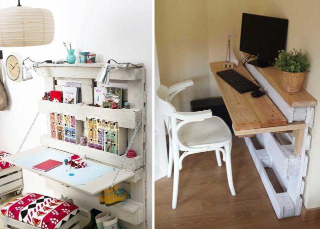 Escritorios con palets para espacios peque os hogar decoraci n - Escritorios espacios pequenos ...