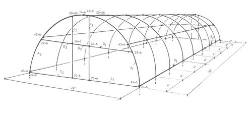Plans for building a Quonset greenhouse using Kee Klamp pipe fittings.