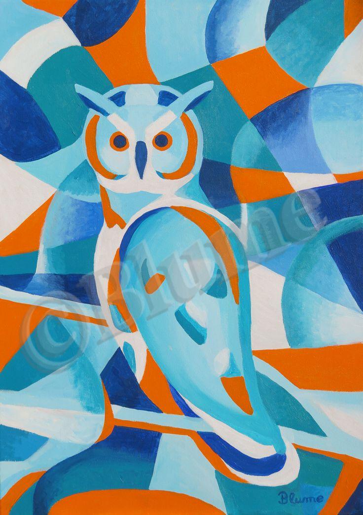 Animal art painting. Blaue Eule Gemälde Acryl auf Leinwand. Blue Owl Acrylics on canvas painting. Painted by me original for sale.