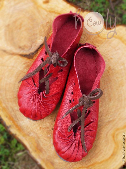 """Купить Красные кожаные сандалии """"Red Moon"""" - ярко-красный, сандалии, сандалии из кожи"""