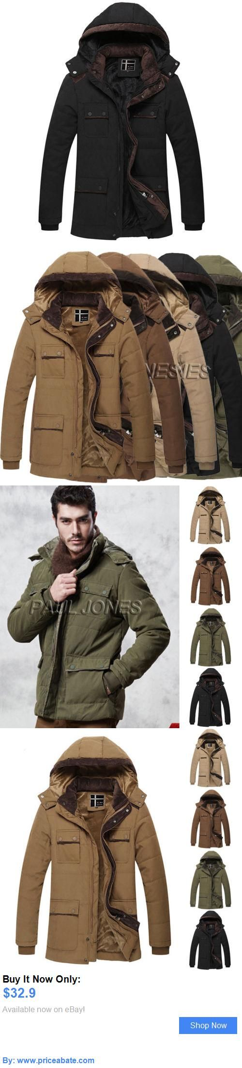 Men Coats And Jackets: Men Warm Collar Hooded Parka Winter Thick Padded Coat Outwear Cotton Jacket Coat BUY IT NOW ONLY: $32.9 #priceabateMenCoatsAndJackets OR #priceabate