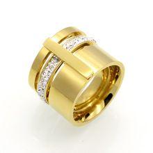 Cristal de circón de color oro titanium del acero inoxidable suena para los hombres mujeres joyería de la boda de tres capas belleza anillos mujer anillos(China (Mainland))