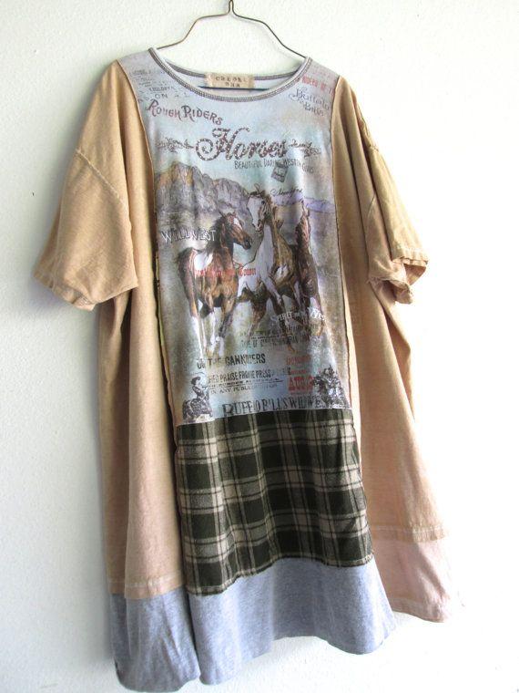 romantic Horse oversized funky boho tshirt tunic / by CreoleSha