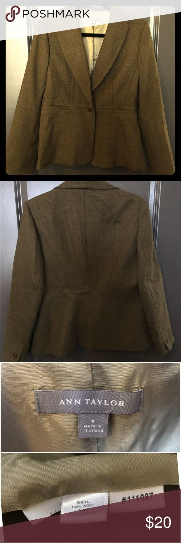 Ann Taylor Olive Green Blazer / Jacket 100% Wool Ann Taylor Blazer size 8 in olive green color. Great to wear for work or to pair with jeans and boots for a casual look. Great condition! Ann Taylor Jackets & Coats Blazers