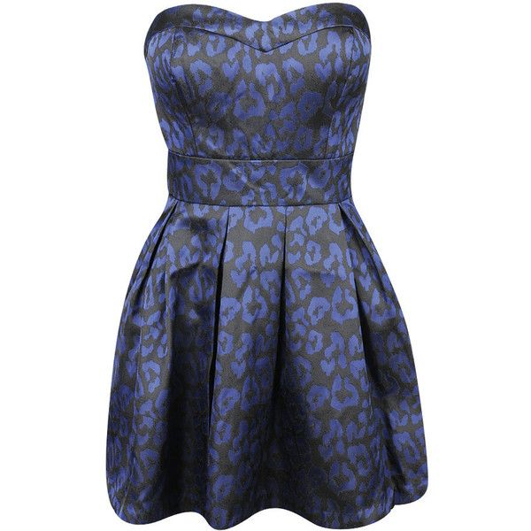 Leopard Jacquard Dress (€23) ❤ liked on Polyvore featuring dresses, vestidos, blue, sukienki, dressy, leopard cocktail dress, leopard print dress, dressy dresses, blue leopard print dress and forever 21 dresses