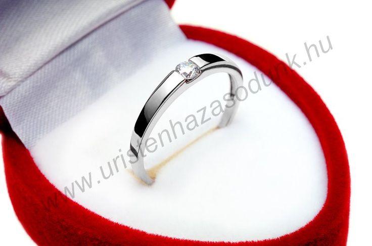 E10FC - 30.750 Ft 14 karátos fehér arany cirkónia köves Eljegyzési Gyűrű 48-60-as méretig azonnal raktárról www.uristenhazasodunk.hu