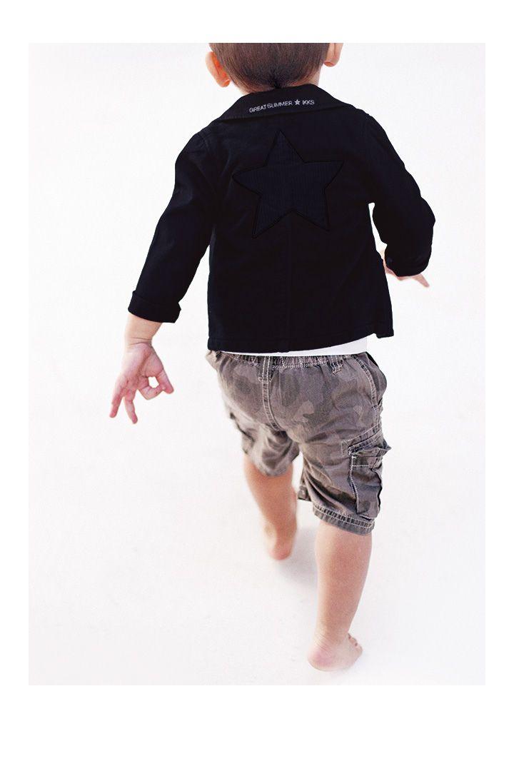Veste bi-matières bébé et bermuda camouflage bébé garçon de la marque de vêtements IKKS #SS14 #IKKS