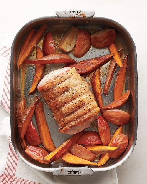 Pork Roast with Apples and Sweet Potatoes recipe