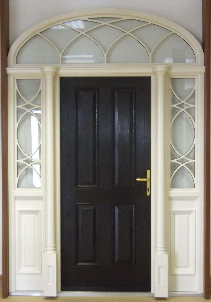 manufactured with natural hardwood the door frame features two column pillars with dentil moulding at the