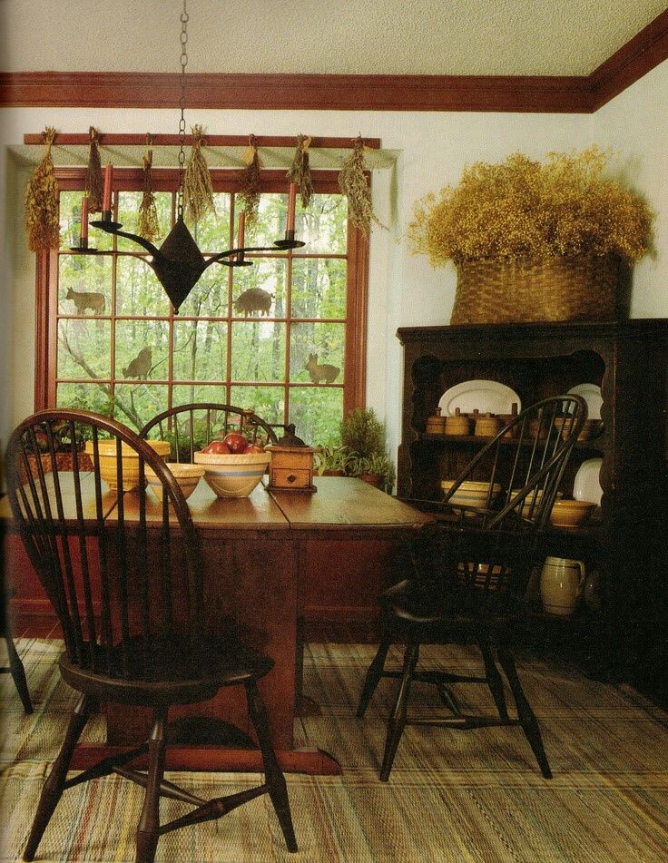 Primitive Dining Room...love the big flower basket.