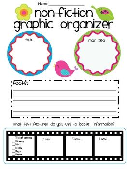 free recording sheet for topic, main idea, facts, and checklist of what text features  nonfiction