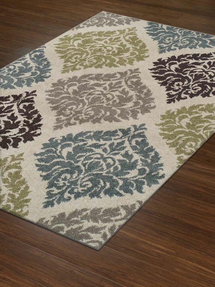Lovely Modern/Transitional Rug Soft Damask Carpet 5x7 5x8 Ivory/Tan/Teal/