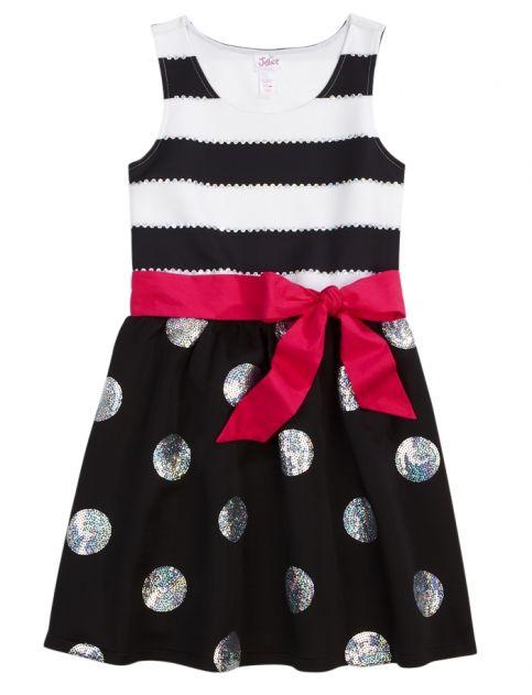 Sequin Dot & Stripe Party Dress | Girls Dresses Clothes | Shop Justice