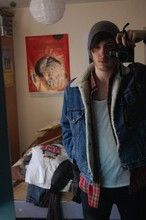 Harry Benson - Topman Beanie, Levi's® Wool Lined Denim Jacket, Uniqlo Flannel Shirt, American Apparel Vest, Cheap Monday Skinny Jeans - Its cold up north