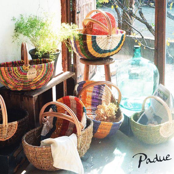 パドゥ バスケット S グリーン I04-5065|グローバルアロー|Padue Basket GR Global Arrow|ラタン|ジュート|天然素材|収納|網カゴ|無地|ピクニック|レジャー||【楽ギフ_包装】【楽天市場】