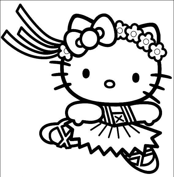 ballerina coloring pages | HELLO KITTY BALLERINA COLORING PAGE