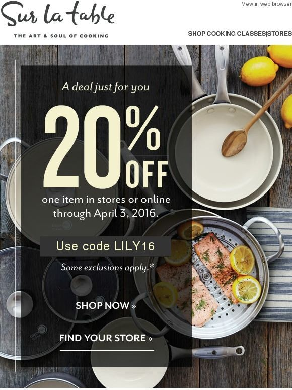 Surprise! Here's a special discount just for you - Sur la Table                                                                                                                                                                                 More