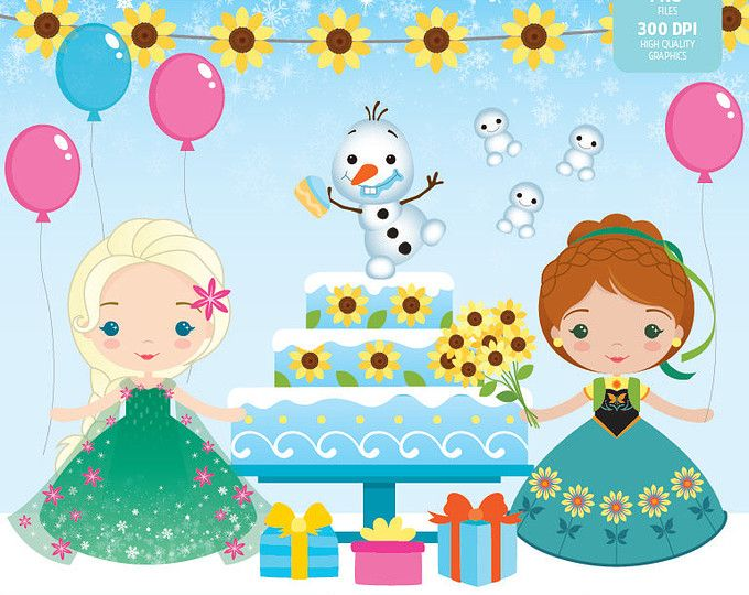 Frozen Fever - Sunflower Birthday Clipart Set - Instant Download - PNG Files.