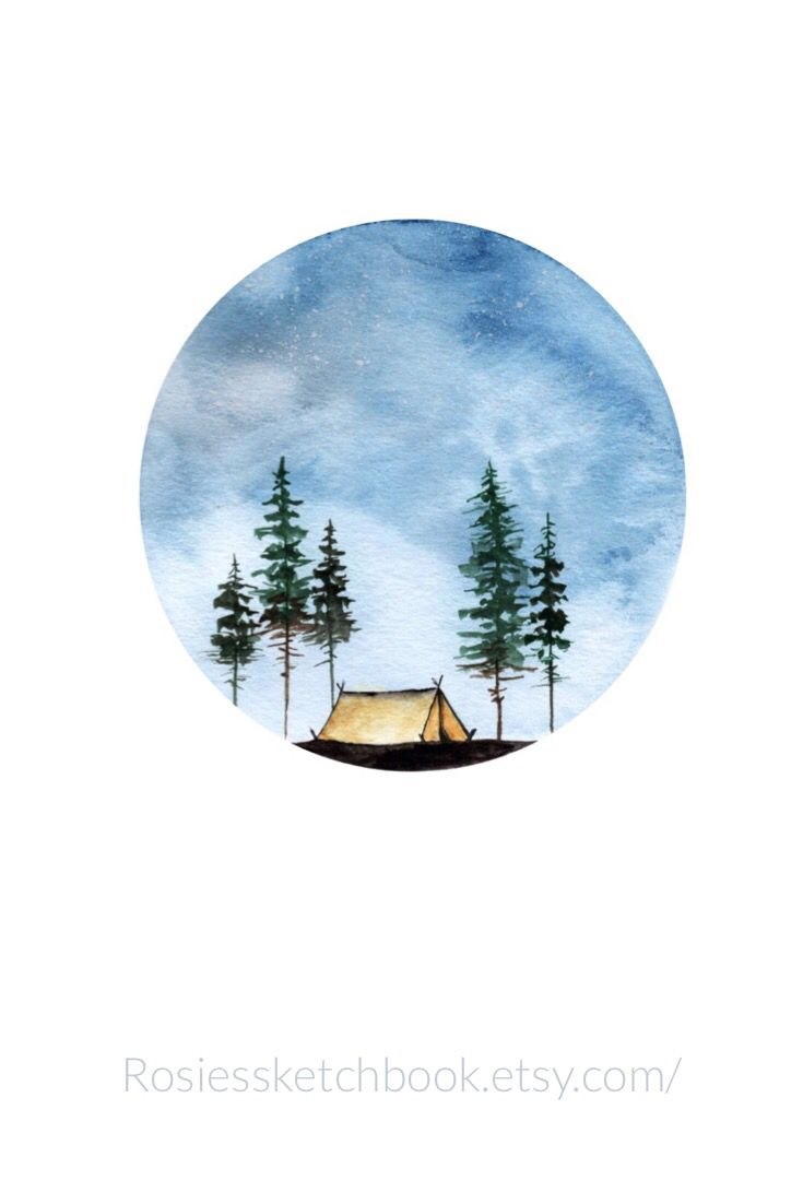 Watercolor Hand Painted Camping In A Tent Wall Art Wallart