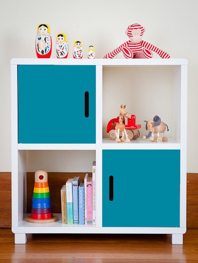 Storage Unit - Four Cubes - Blue Doors