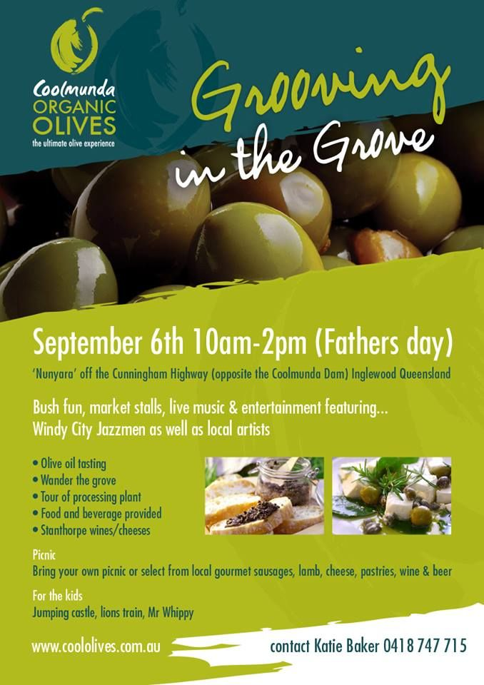 If you're stuck for something to do this Father's Day, don't look any further! Coolmunda Organic Olives are putting on Grooving in the Grove from 10am-2pm opposite the Coolmunda Dam. Head to our facebook for more details https://www.facebook.com/highlifedowns #Highlife #DownsLiving #SEQ #CoolmundaOrganicOlives