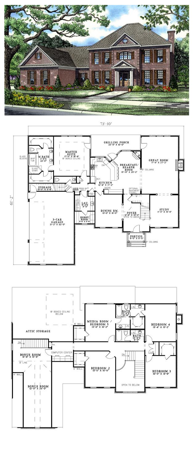 Plantation House Plan 82126 | Total Living Area: 3978 sq ft, 5 bedrooms & 3.5 bathrooms. #plantationhouse #houseplan