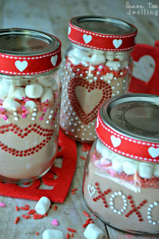 V-Day Gift Jars with Hot Chocolate Mix