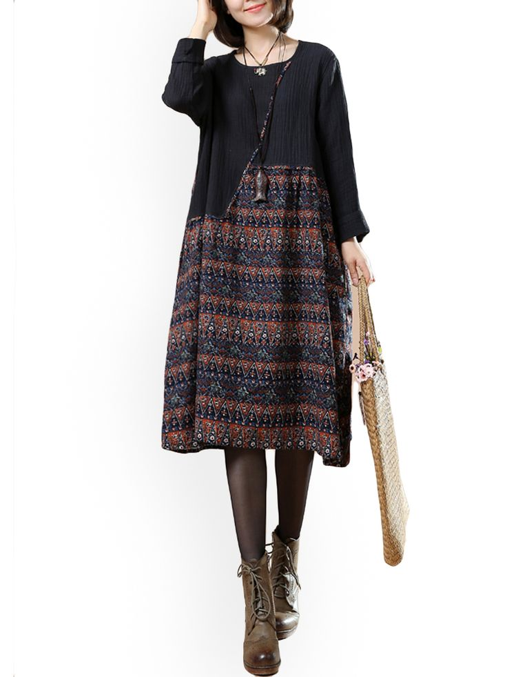 O-NEWE L-5XL Women Ethnic Style Print Splicing Dress