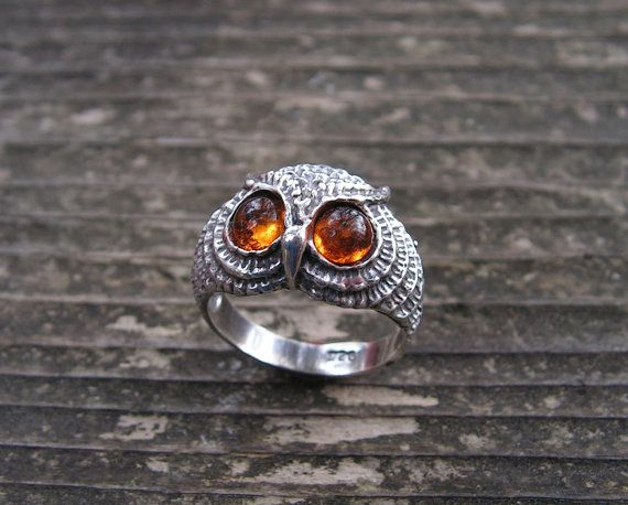 Sterling Silver Owl Ring With  Amber Eyes. $32.00, via Etsy.