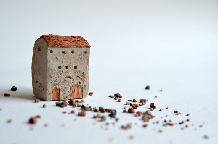 Little Clay House Abstract Architectural Sculpture Italy farm. $21.99, via Etsy.