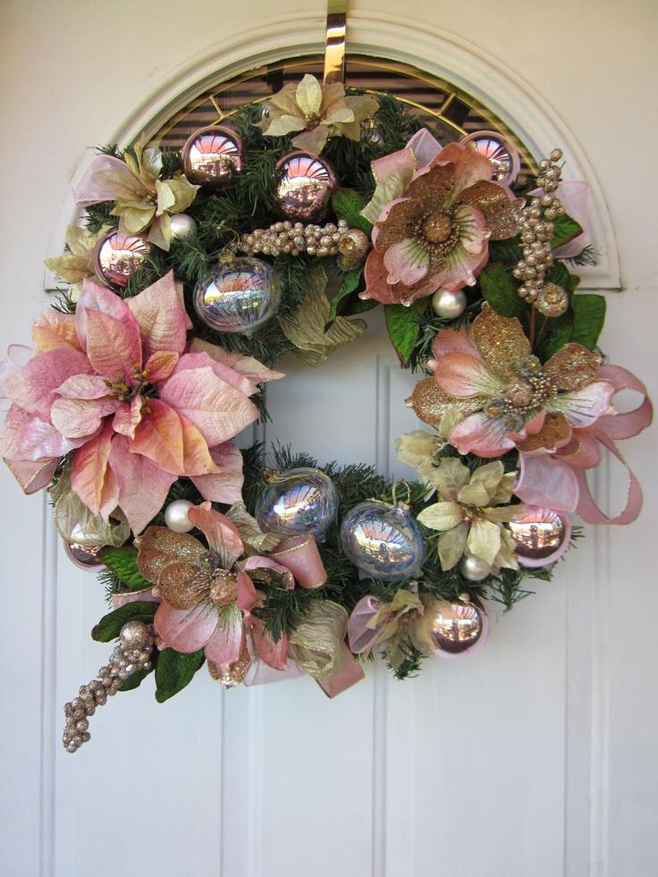 Ooak victorian winter poinsettia burlesque pink shabby - Navidad shabby chic ...