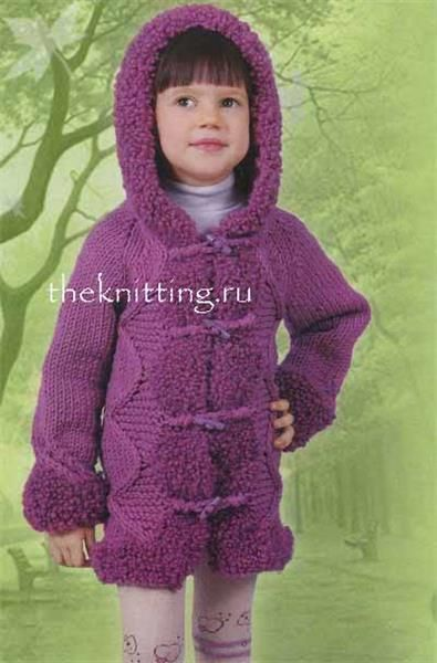 Модели модных вязаных пальто для девочки
