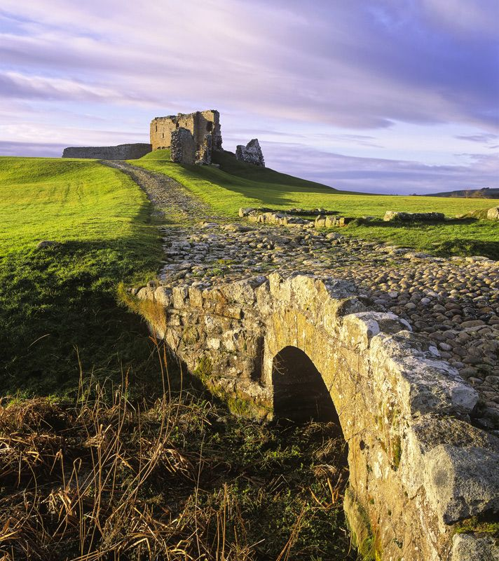 Cobbled bridge to Duffus Castle ruins. Duffus, Moray, Scotland.