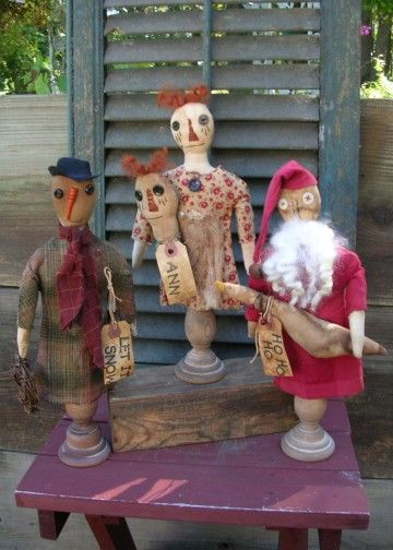 Primitive Christmas Pattern Holiday Ornies by stitchintimepatterns ♥♥