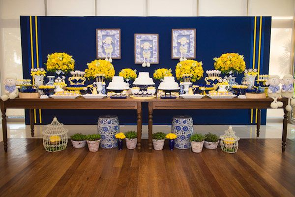 decoracao festa infantil azul e amarelo : decoracao festa infantil azul e amarelo:Batizado azul e amarelo