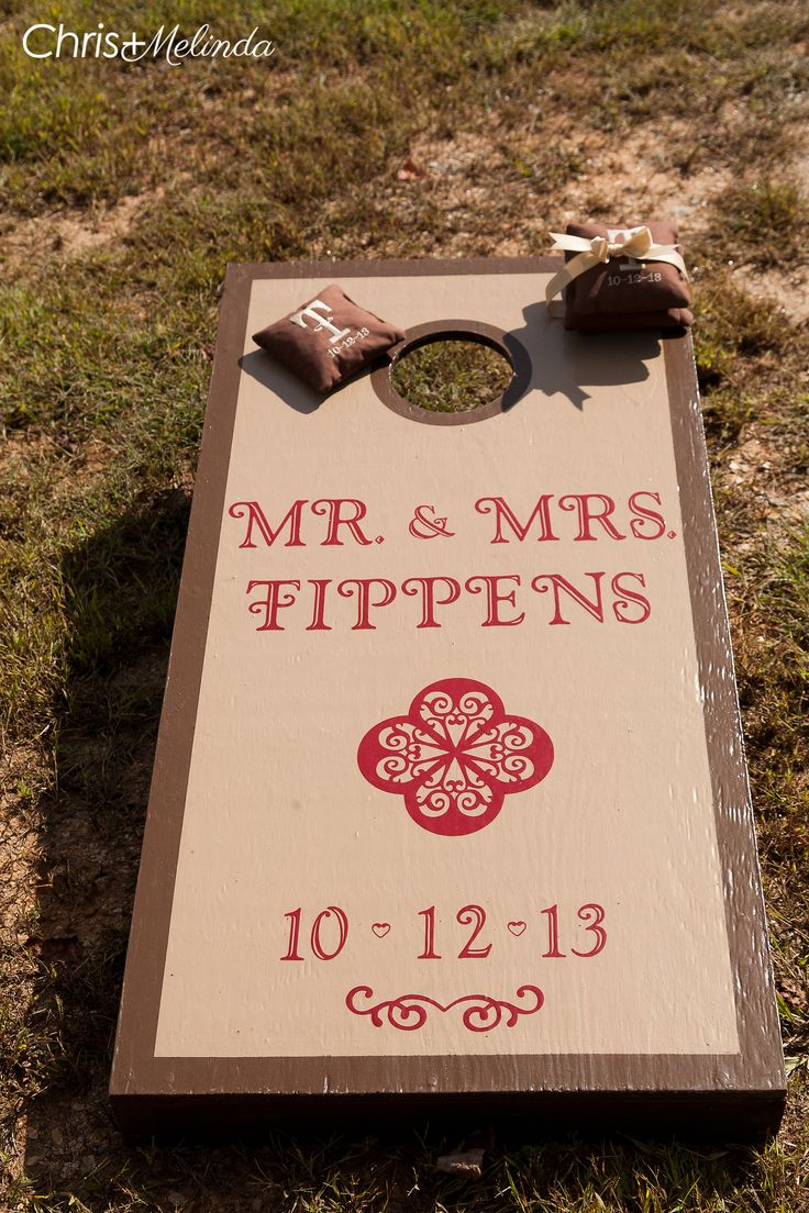 Corn hole for wedding guests to play