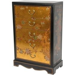 @Overstock - Gold Leaf Five Drawer Chest (China) - Classic Ming dynasty design small chest has five drawers. The chest is hand-painted with a birds and blossoms oriental art design and finished in a medium gloss gold lacquer.     http://www.overstock.com/Worldstock-Fair-Trade/Gold-Leaf-Five-Drawer-Chest-China/6706345/product.html?CID=214117  $628.00