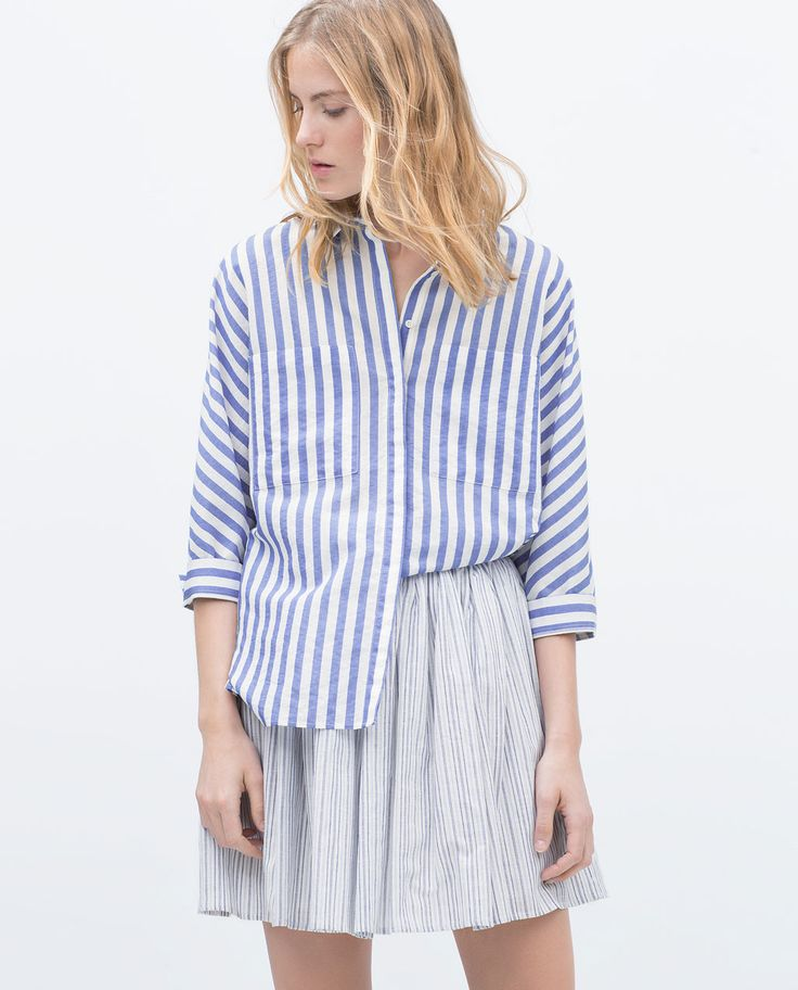 Image 2 of STRIPED SHIRT WITH KIMONO SLEEVES from Zara