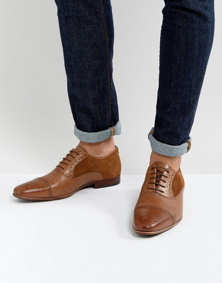 ASOS Brogue Shoes In Tan Leather With Suede Detail - Tan