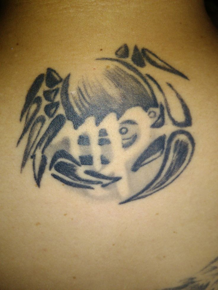 My husband's tattoo, Cancer (as me)+Virgo (him/our daughter). Original picture by me. The best proof od love!