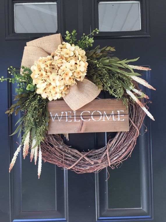 Welcome Wreath Country Cream Hydrangea Burlap by jennyCmoon