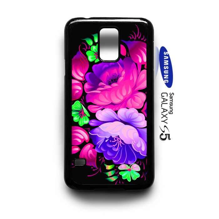 Flowers pink purple pattern  Samsung Galaxy S5 Case Cover