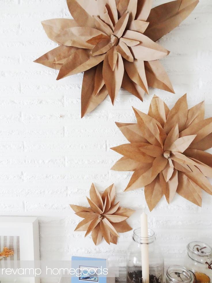 Brown-Papiertüte-Blumen – DIY-Partydekorationen. Schön für den Herbst.