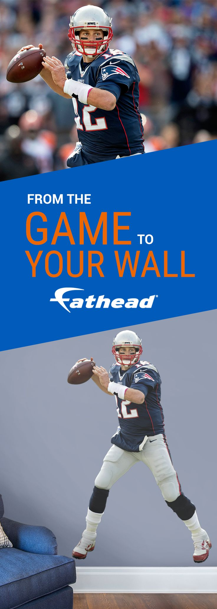 """Remember Tom Brady's best moments with a REAL.BIG. Fathead. The New England Patriots' Tom Brady life-size wall decal is easy to apply to your man cave, and you can remove it without any damage to your wall. Purchase the Tom Brady wall decal or any other of your favorite NFL player Fatheads today! Size: 4'0""""W X 6'5""""H. https://www.fathead.com/nfl/new-england-patriots/tom-brady-wall-decal/."""