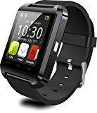 Pinwheel Smart Watch U8 Plus U8L Sync Notifier Bluetooth Wristwatch Reloj Inteligente For iPhone IOS Android Wearable Device Smartwatch(Black)