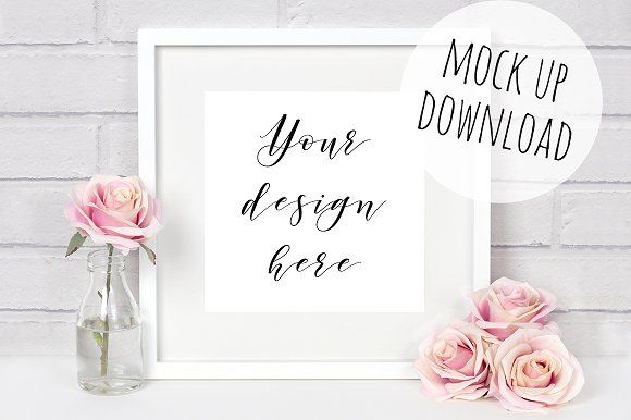 Pretty Square Frame Photo Mockup by Doodle and Stitch on @creativemarket