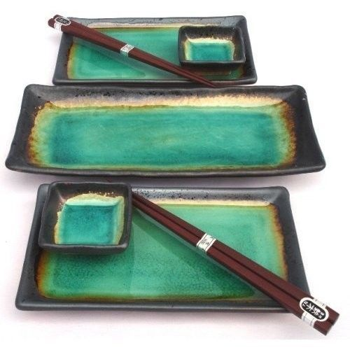 Square Turquoise Green Sushi Plate Set for Two with Serving