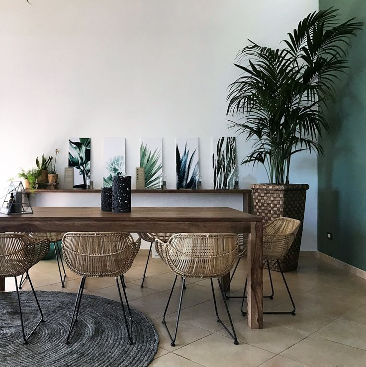 Relooking di uno spazio corporate firmato Casacadabra; meeting room jungalow style. Sedie in rattan Pomax.